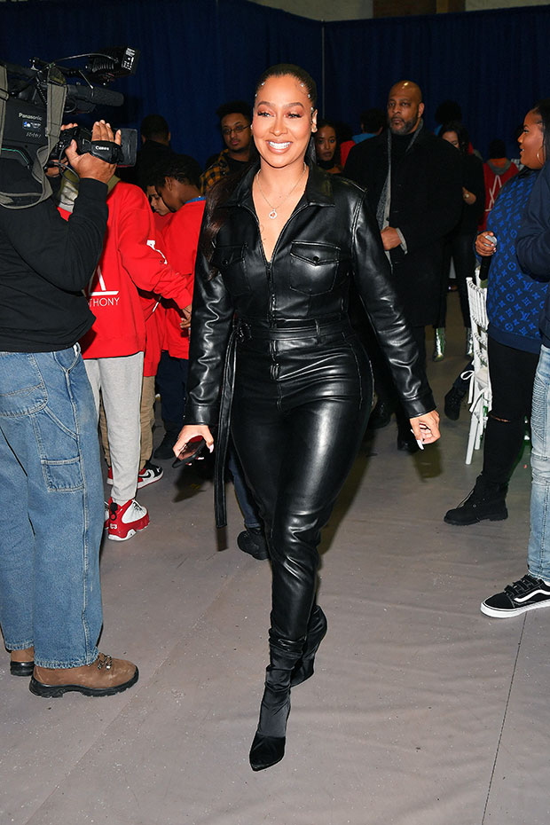 la la anthony black leather outfit