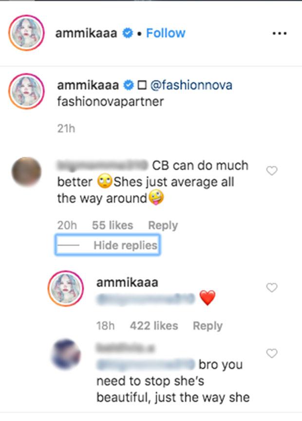 Ammika Harris Instagram Comment