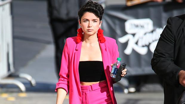 Bekah Martinez out in a pink pantsuit