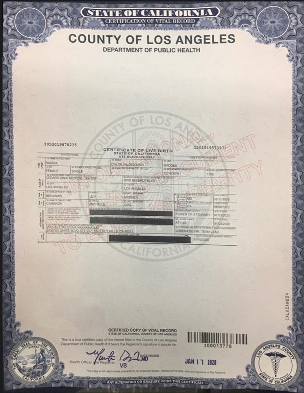 Raddix Madden Birth Certificate