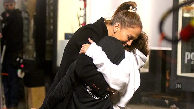 Jennifer Lopez hugging her twins, Max & Emme