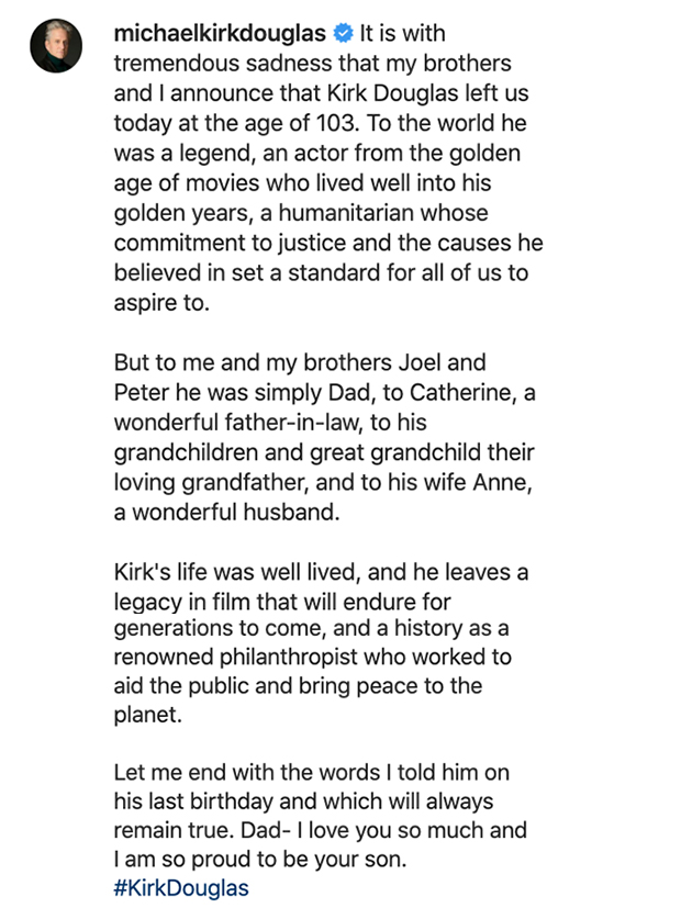 Michael Douglas statement