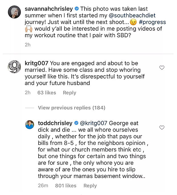 Todd Chrisley's Instagram Comment