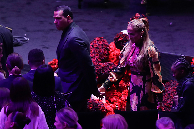 Jennifer Lopez and Alex Rodriguez leave after a celebration of life for Kobe Bryant and his daughter Gianna Monday, Feb. 24, 2020, in Los Angeles.Kobe Bryant Memorial Basketball, Los Angeles, USA - 24 Feb 2020