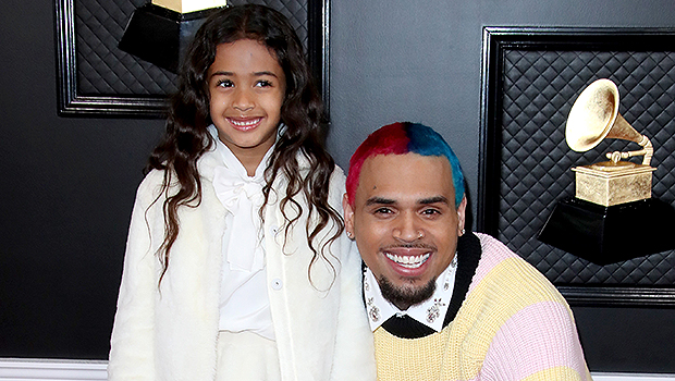 Chris Brown's & daughter Royalty at the Grammys