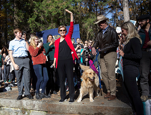 Elizabeth Warren and dog Bailey