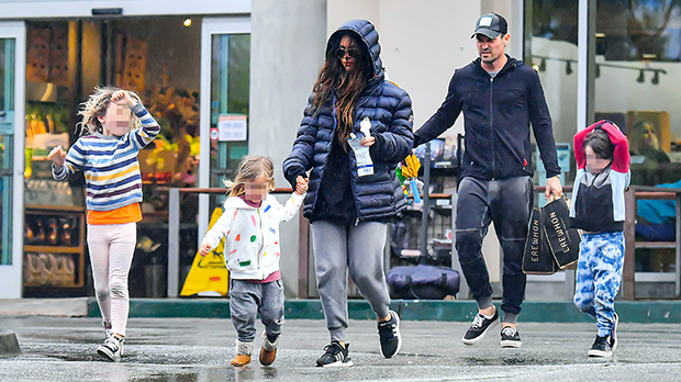 Megan Fox & Brian Austin Green grocery shopping with their kids