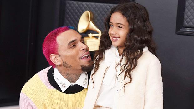 Chris Brown & daughter Royalty at the Grammys