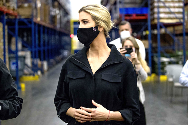 Ivanka Trump wearing a face mask in Maryland