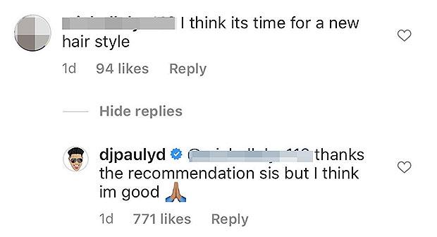 Pauly D's Instagram comment