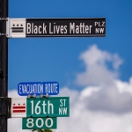 New street signs read Black Lives Matter on 16th Street near the White House, where there have been of seven days of protests over the death of George Floyd, who died in police custody, in Washington, DC, USA, 05 June 2020. Earlier in the day DC Mayor Muriel Bowser renamed that section of 16th Street Black Lives Matter Plaza. George Floyd protest in Washington, DC, USA - 05 Jun 2020