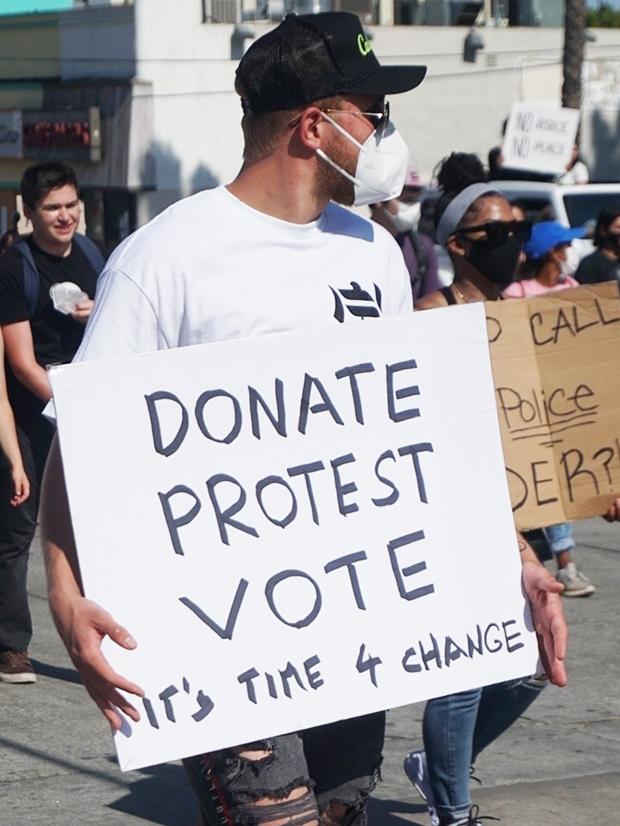 Jake Paul protesting