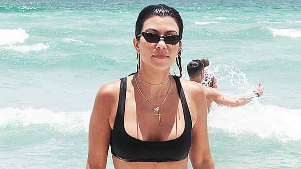 Kourtney Kardashian at the beach