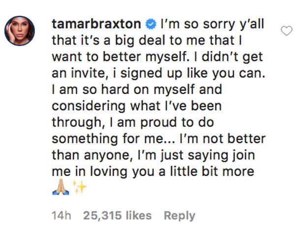 Tamar Braxton's Instagram clap back