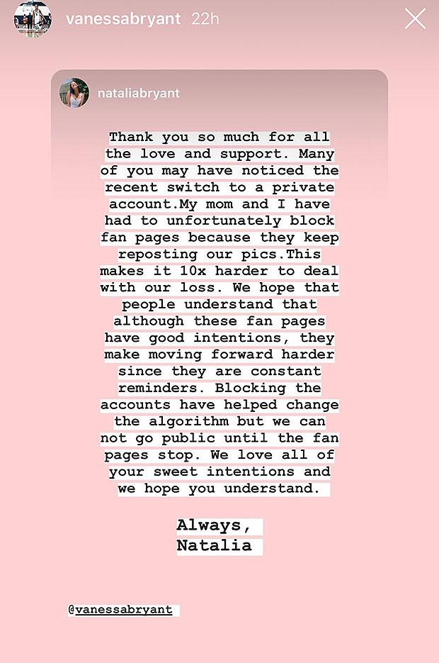 Natalia Bryant's Instagram Message