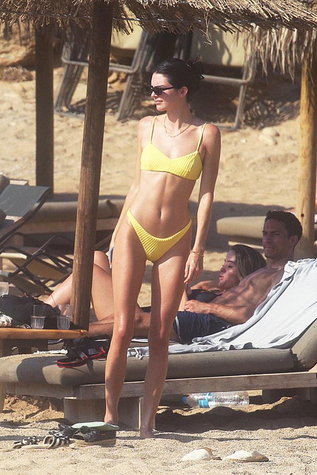 Kendall Jenner in a yellow bikini