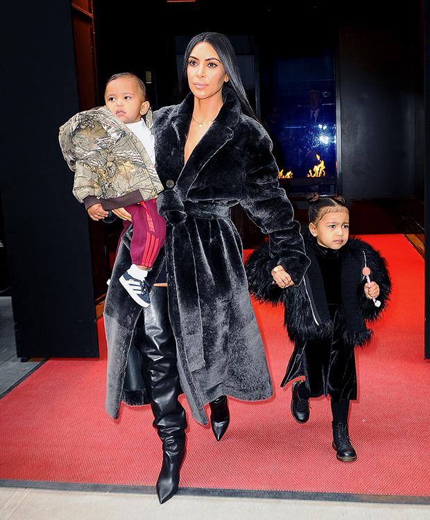 Kim Kardashian with North & Saint West