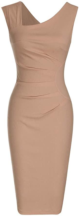 tan sheath dress