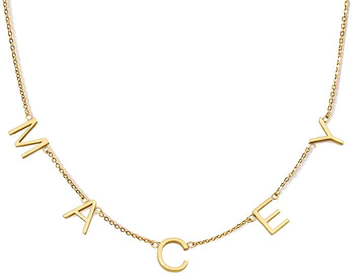 gold letter necklace