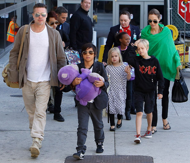 Brad Pitt & Angelina Jolie with their kids in LA