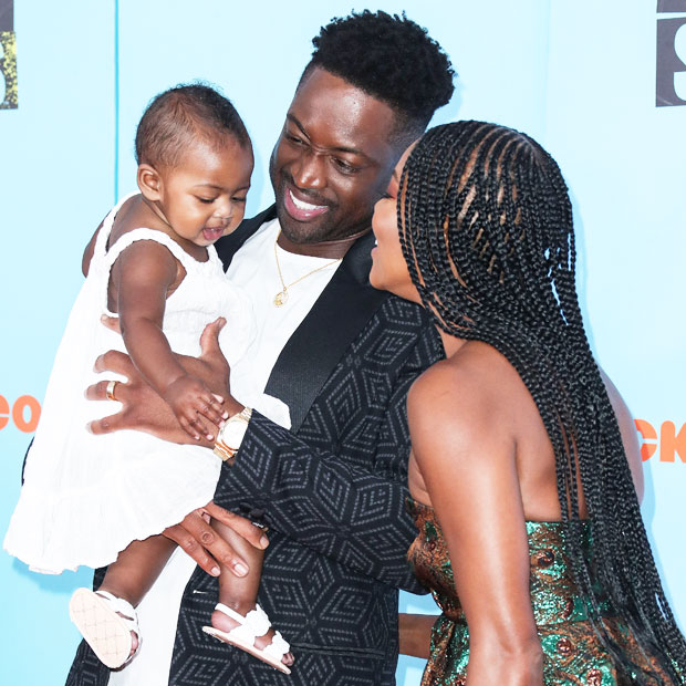 Gabrielle Union & Dwyane Wade with daughter Kaavia James