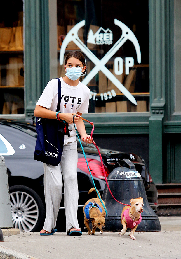 Suri Cruise & her dogs in NYC