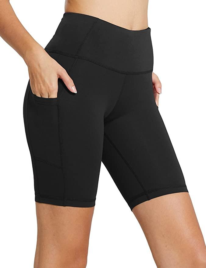 """BALEAF Women's 8"""" /5"""" /2"""" High Waist Workout Biker Yoga Running Compression Exercise Shorts Side Pockets"""