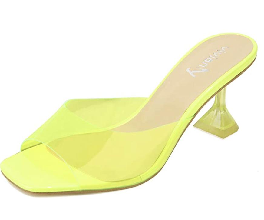 neon green mule heel