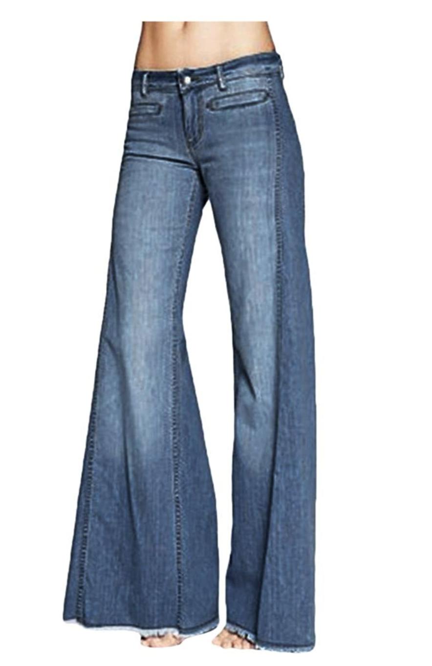 low rise fringe jeans