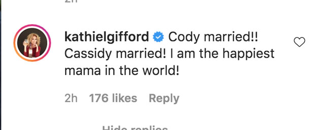 Kathie Lee Gifford comments on Instagram