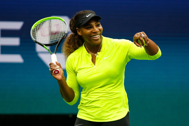 Serena Williams of United States laughs whole practising before the start of the US Open at the USTA Granstand Tennis Court on August 23, 2019 in New York City, USA. © Elena Leoni CAP/EL ©Elena Leoni/Capital Pictures. 23 Aug 2019 Pictured: Serena Williams. Photo credit: EL/Capital Pictures / MEGA TheMegaAgency.com +1 888 505 6342 (Mega Agency TagID: MEGA487393_001.jpg) [Photo via Mega Agency]
