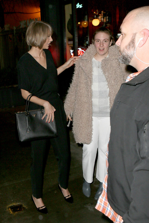 New York, NY - New York, NY - Taylor Swift and Lena Dunham had a Girls night in the Big Apple. The two were seen dining in West Village and hugged it out while parting ways. The 1989 singer wore an all black jumpsuit, heels, and Prada bag. Dunham wore a furry jacket, plaid sweater, white pants and ankle boots. AKM-GSI 21 FEBRUARY 2016 To License These Photos, Please Contact : Maria Buda (917) 242-1505 mbuda@akmgsi.comor Steve Ginsburg (310) 505-8447 (323) 423-9397 steve@akmgsi.com sales@akmgsi.com