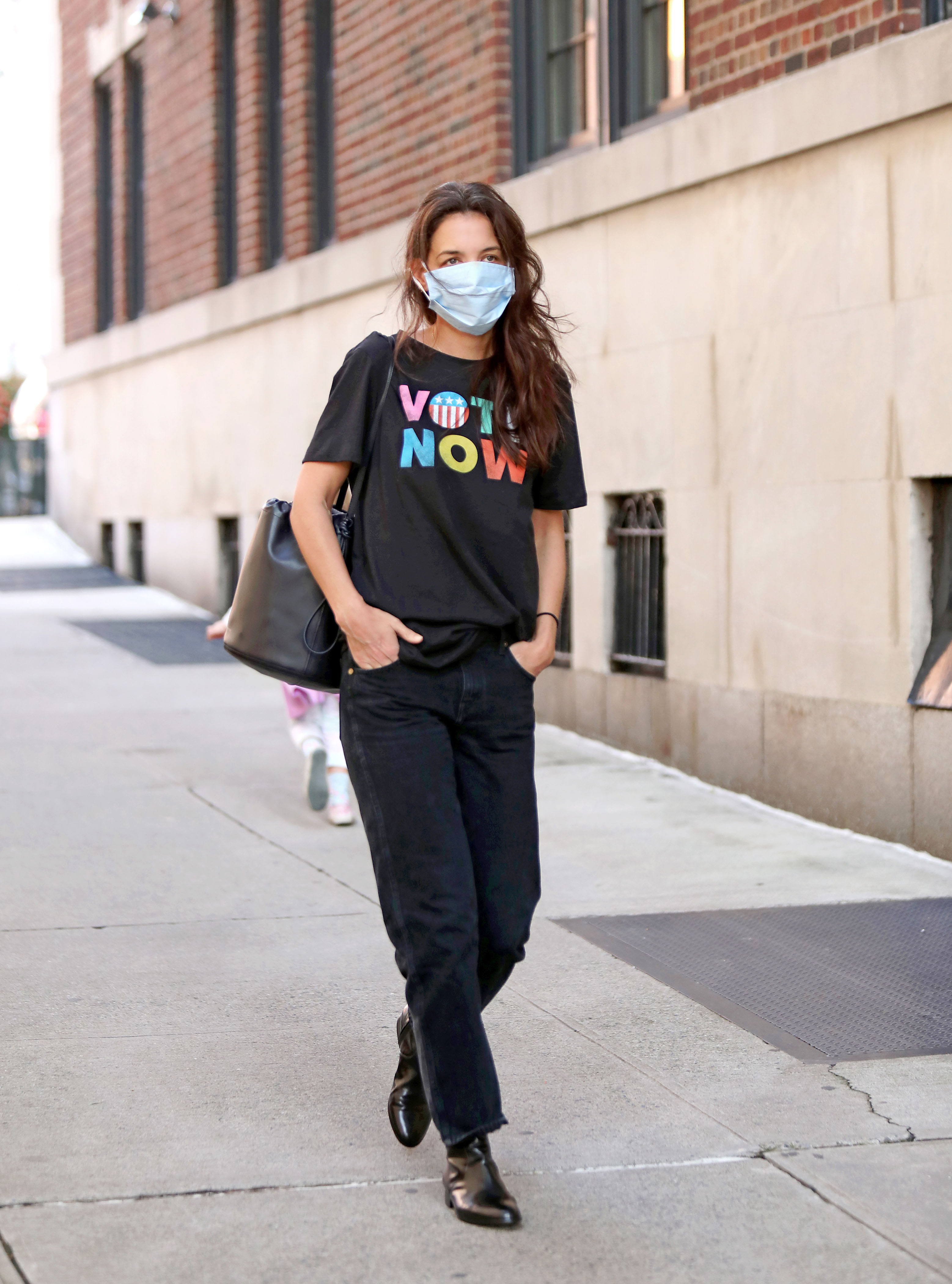 Katie Holmes rocks an Old Navy VOTE tee shirt following the brand's commitment to pay their their employees to Power the Polls, an initiative to ignite voting. - Pictured: Katie Holmes - Photo: SJZ/Shutterstock