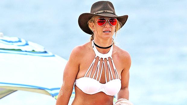 Britney Spears in a white bikini