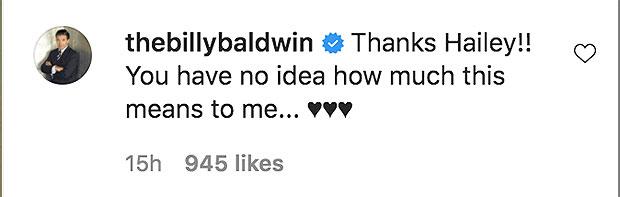 Billy Baldwin's Instagram comment