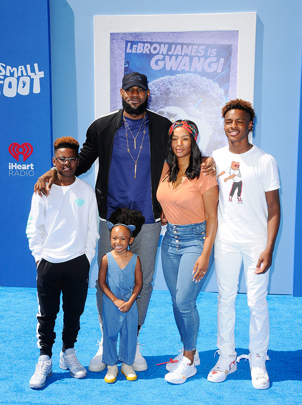LeBron James & family at movie premiere