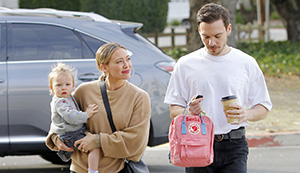 Hillary Duff and Mathew Koma goes out for lunch with their daughter after becoming husband and wife after wedding in their backyard in Los Angeles. 22 Dec 2019 Pictured: Hilary Duff & Metthew Coma. Photo credit: MEGA TheMegaAgency.com +1 888 505 6342 (Mega Agency TagID: MEGA573158_001.jpg) [Photo via Mega Agency]