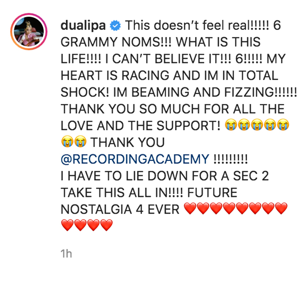 Dua Lipa Hysterically Cries As She Learns She Has Been Nominated For 6 Grammys — Watch 2