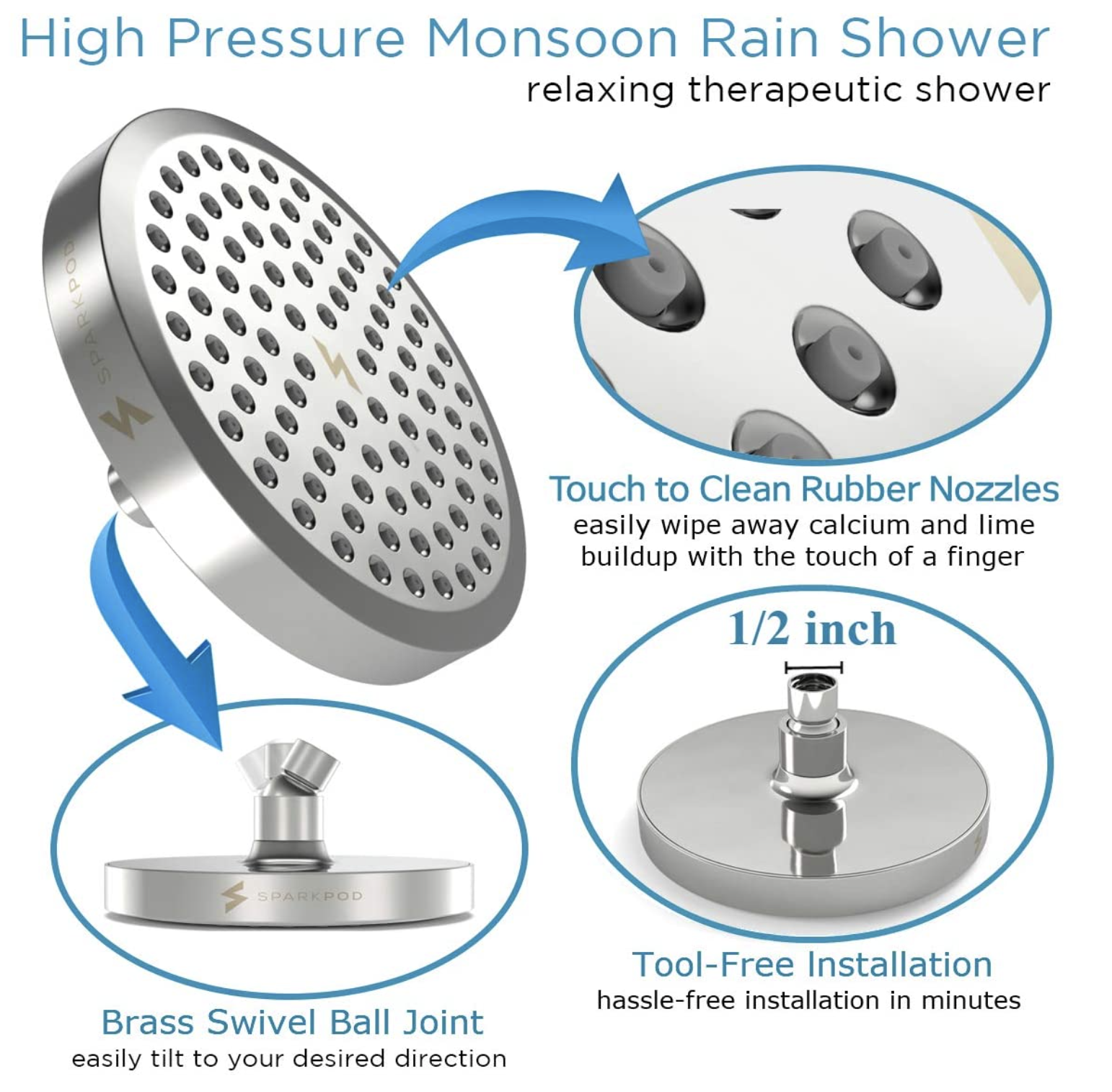 high powered rain shower head