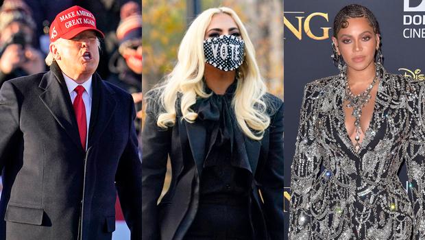 Trump Trash Talks Lady Gaga & Mispronounces Beyonce's Name At MAGA Rally & Fans Are Furious