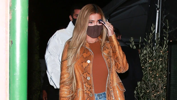 Kylie Jenner Stuns In Snakeskin Coat & High-Waisted Jeans For Dinner Date With Friends — Pic