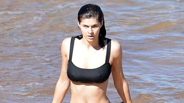 Alexandra Daddario Rocks Black Bikini While Hitting The Ocean On Beach... image