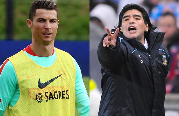 Cristiano Ronaldo and Diego Maradona