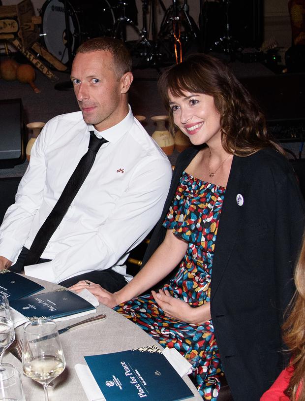 Chris Martin and Dakota Johnson