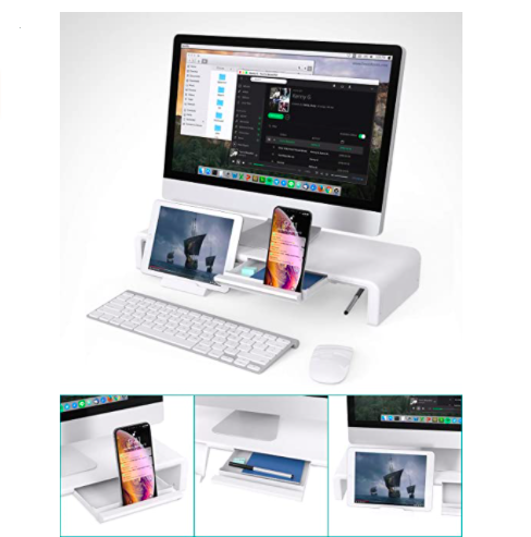 Rising Monitor Stand with Compartments