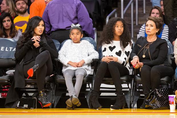 Vanessa Bryant & family at Staples Center