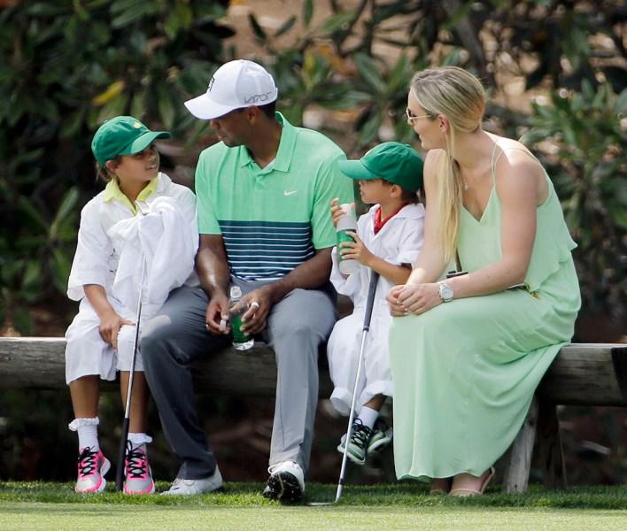 Tiger Woods, Lindsey Vonn, Sam and Charlie Woods.