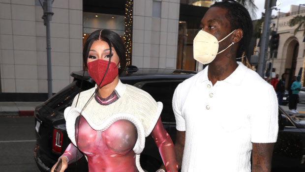 Cardi B Reveals Lingerie In See-Through Red Dress On Shopping Date With Offset — See Pic