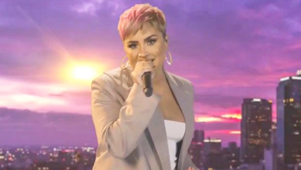 Demi Lovato Flaunts Pink Pixie Hair While Performing 'Lovely Day' At 'Celebrating America'