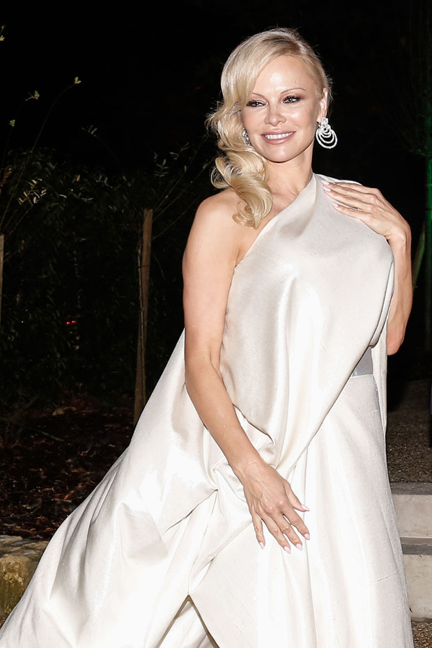 Pamela Andersons Wedding Gown & Veil: See The Baywatch